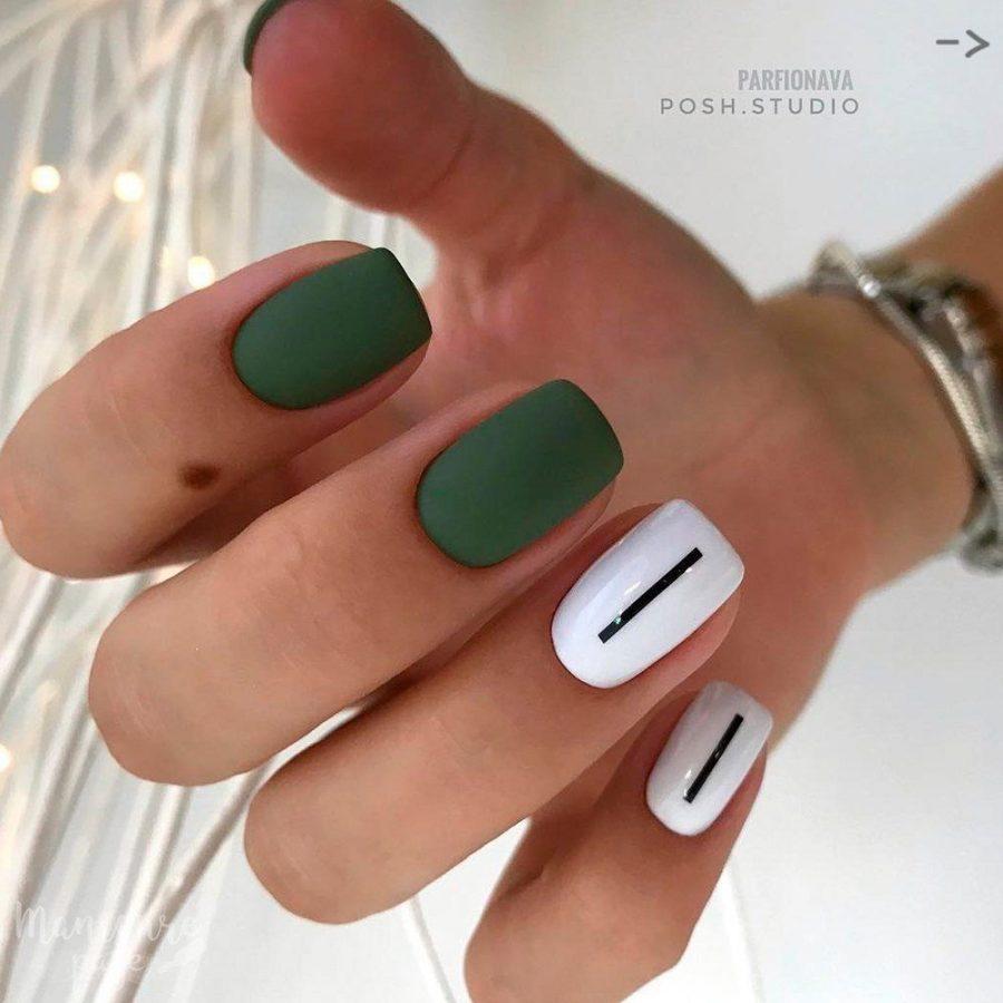 green matte nails