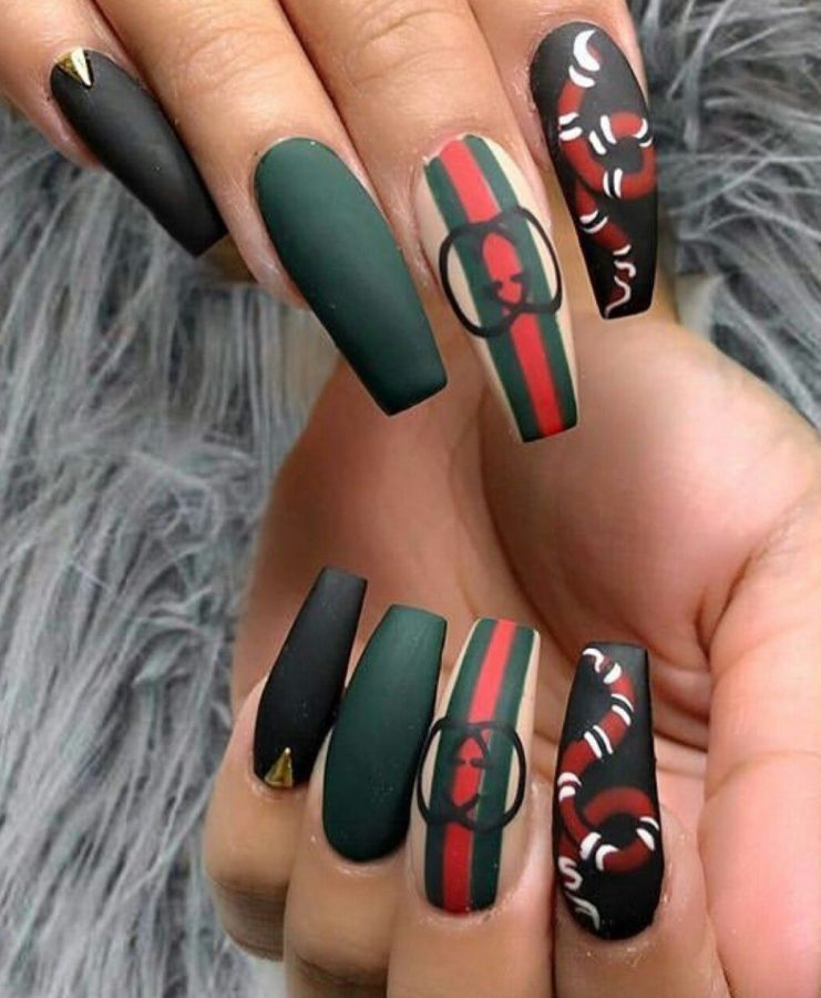 long Gucci nails