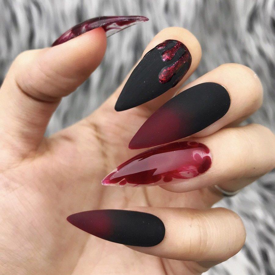matte nails burgundy