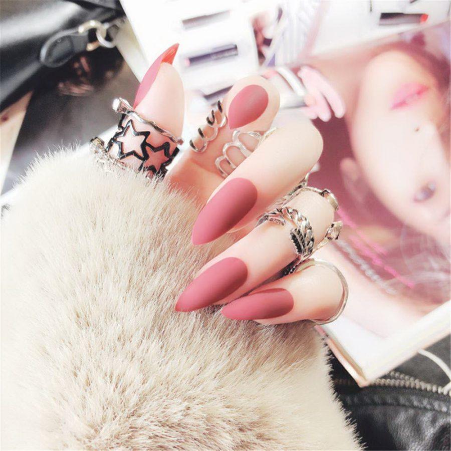 matte peach nails
