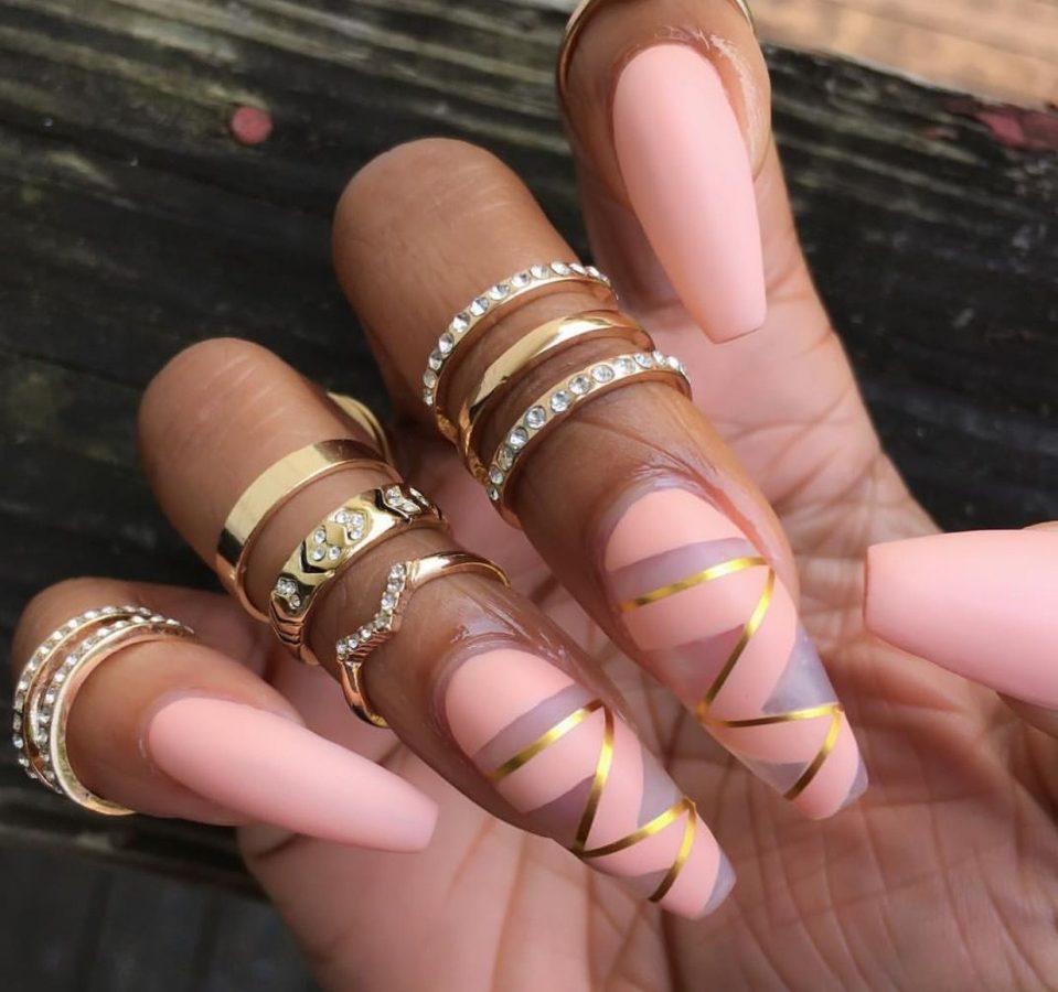 pink and gold long nails