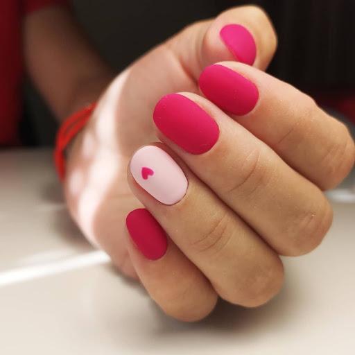 pink heart matte nails