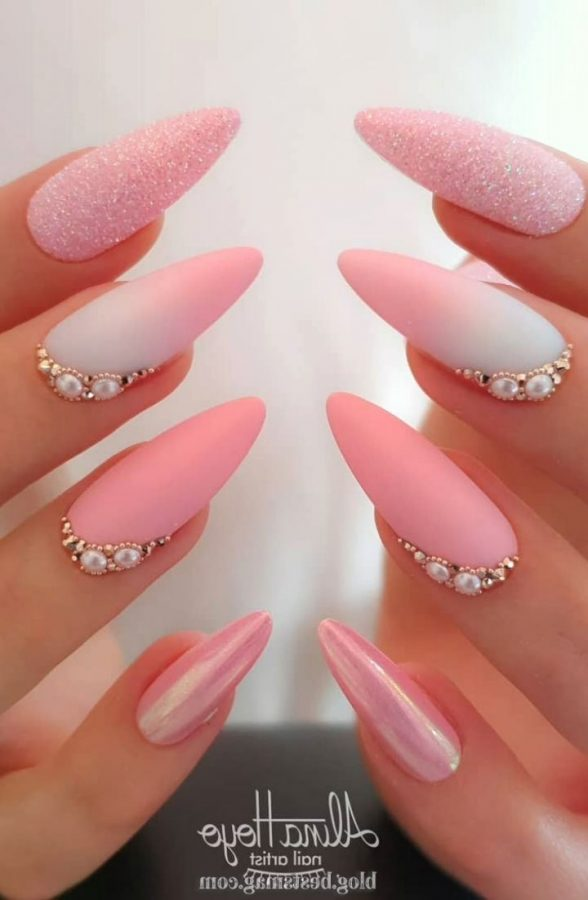 pink long nails with glitter