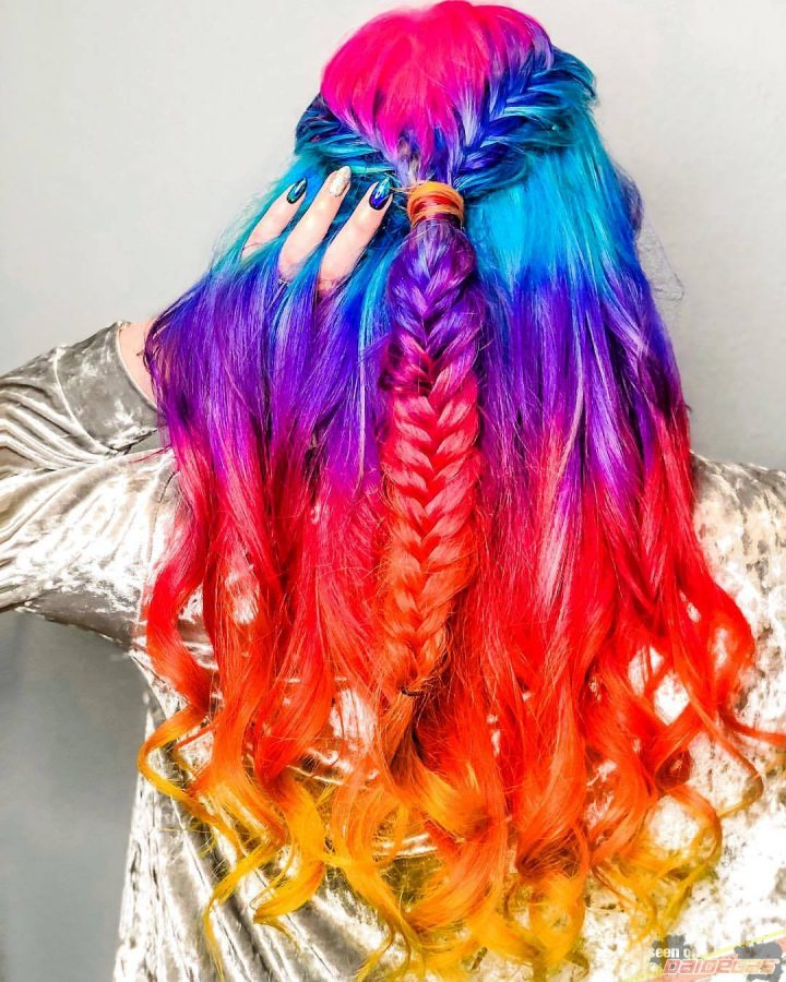 rainbow braiding hair