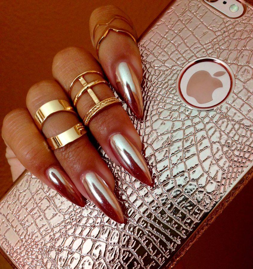 rose gold long nails