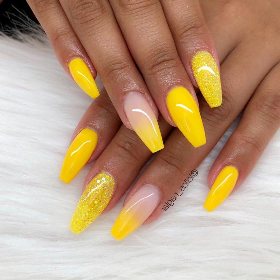 yellow long nails