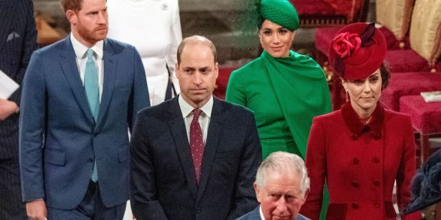 Britain's Prince Harry, Duke of Sussex (L) and Britain's Meghan, Duchess of Sussex (2nd R) follow Britain's Prince William, Duke of Cambridge (C) and Britain's Catherine, Duchess of Cambridge (R) as they depart Westminster Abbey after attending the annual Commonwealth Service in London on March 9, 2020. - Britain's Queen Elizabeth II has been the Head of the Commonwealth throughout her reign. Organized by the Royal Commonwealth Society, the Service is the largest annual inter-faith gathering in the United Kingdom.