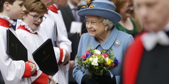 Britain's Queen Elizabeth II leaves after attending the annual Commonwealth Day service at Westminster Abbey in London, Monday, March 9, 2020.