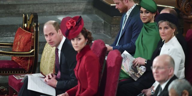 Britain's Prince William and Kate Duchess of Cambridge, front, with Prince Harry and Meghan Duchess of Sussex, behind, attend the annual Commonwealth Service at Westminster Abbey in London Monday, March 9, 2020. Britain's Queen Elizabeth II and other members of the royal family along with various government leaders and guests are attending the annual Commonwealth Day service, the largest annual inter-faith gathering in the United Kingdom.