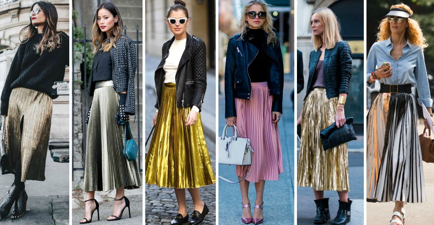 Outfits with metallic elements