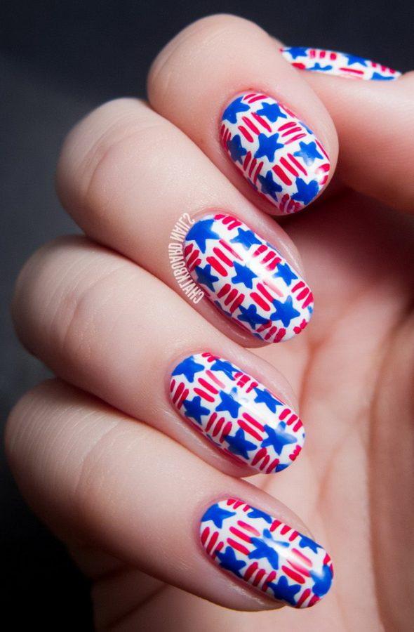 US flag stars nails
