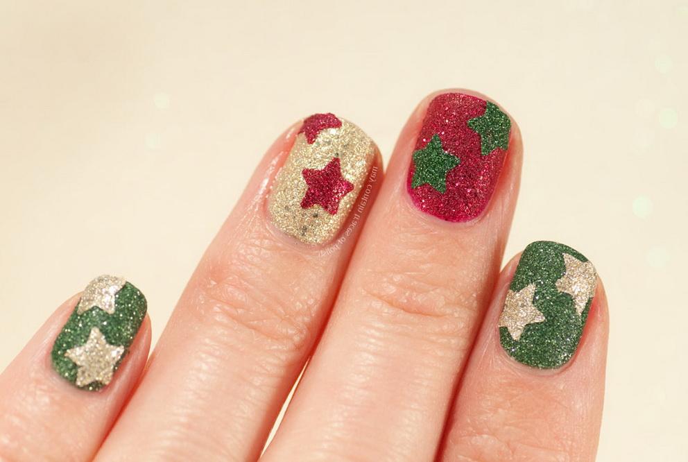 christmas star nails