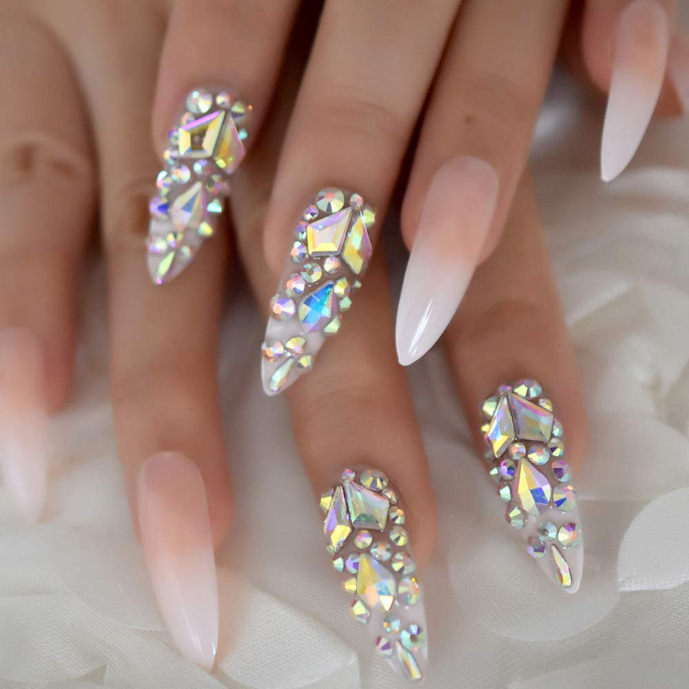 luxury nails with gems