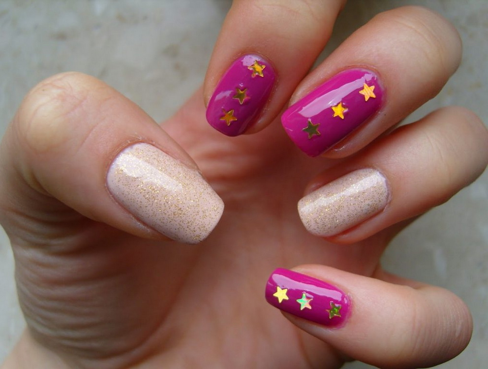 pink and gold stars nails