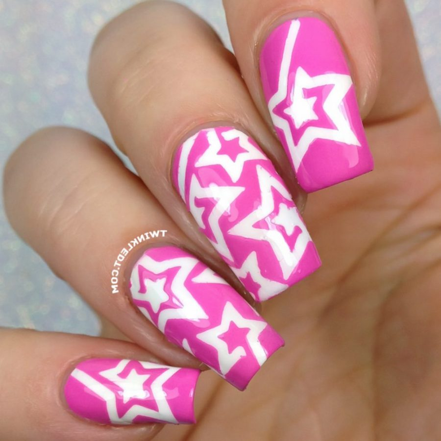 pink and white star nails