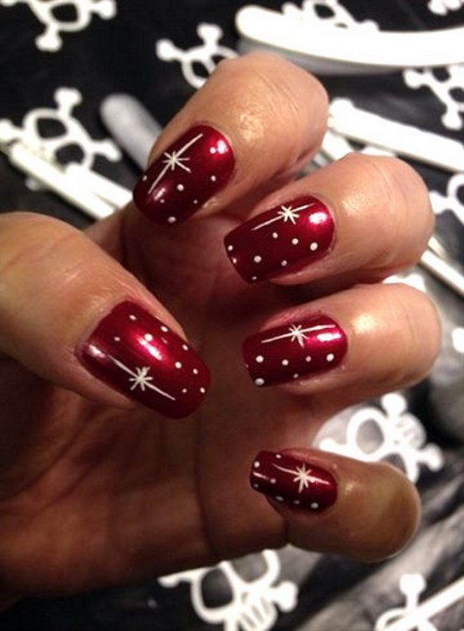red stars nails