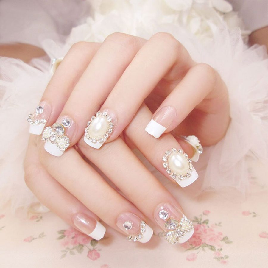 white luxury nails