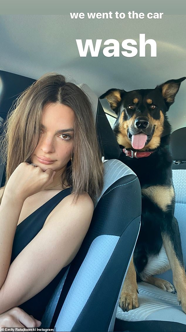 Wash time: As for her impromptu car ride, Emily revealed to her 26.1million followers that her and her pup Colombo had made a stop at a local car wash