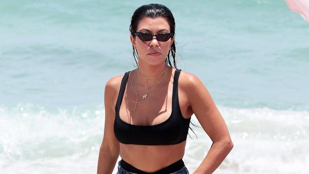 Kourtney Kardashian Poses In A Black Bikini In Her Backyard
