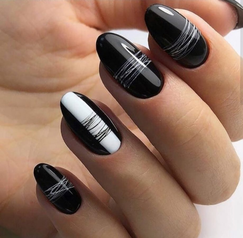 black and white Rarity Nails