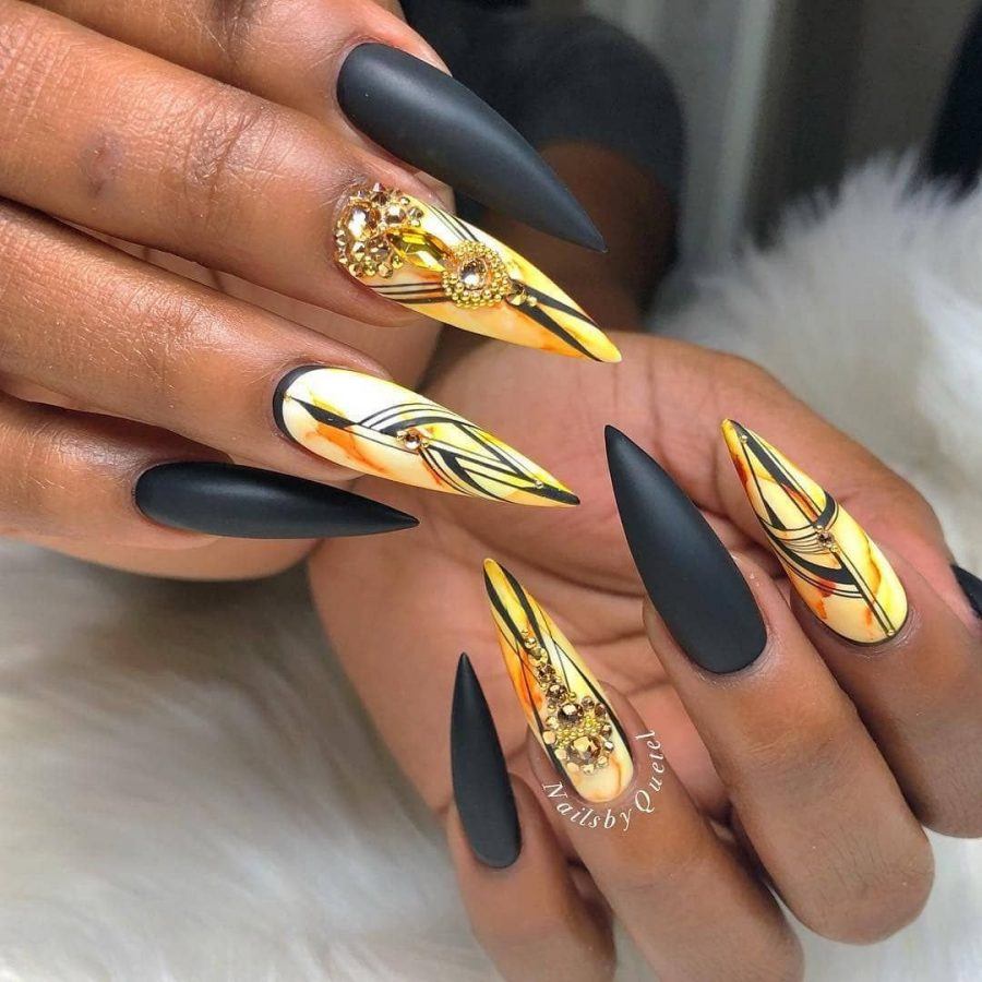 black and yellow Rarity Nails