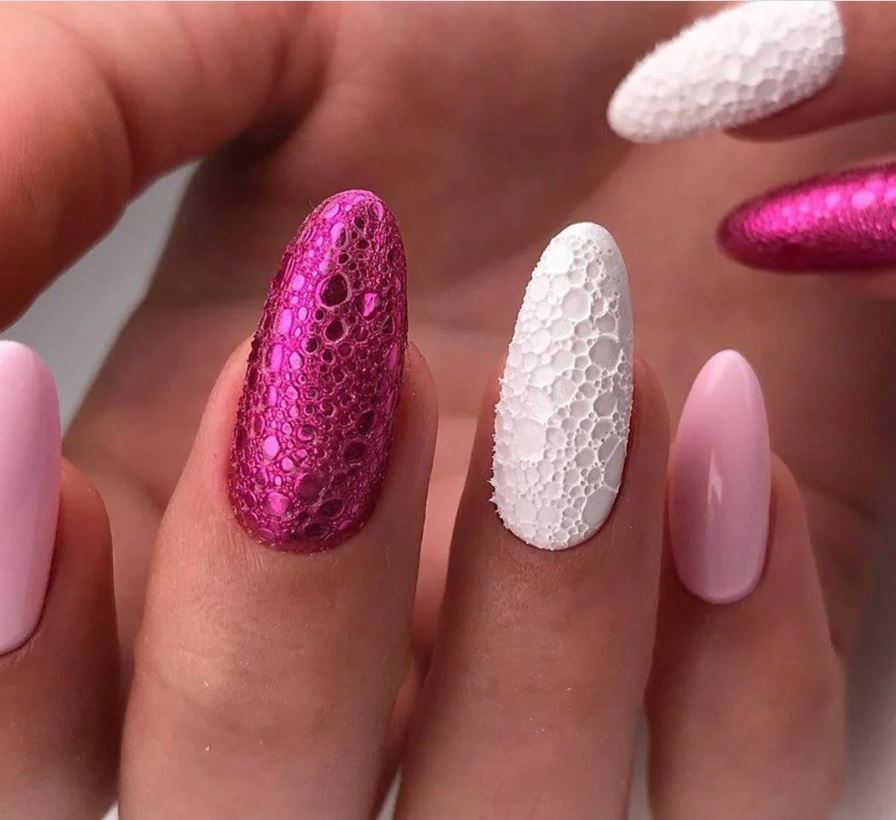 pink and white Rarity Nails