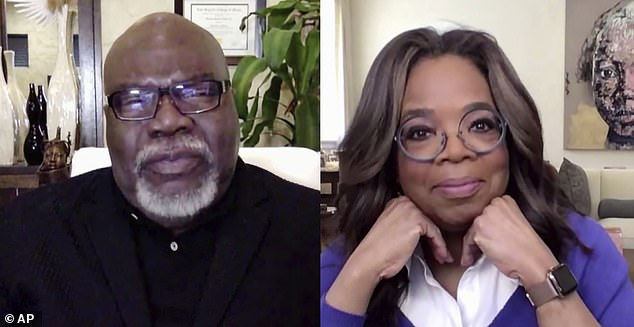 Special guests: Oprah invited the likes of author T. D. Jakes and spiritual leader Eckhart Tolle for her segment of the stream to discuss the trials and tribulations people are set to endure in wake of the unprecedented pandemic