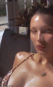 Bella Hadid shows off bosom in swimwear Instagram clip