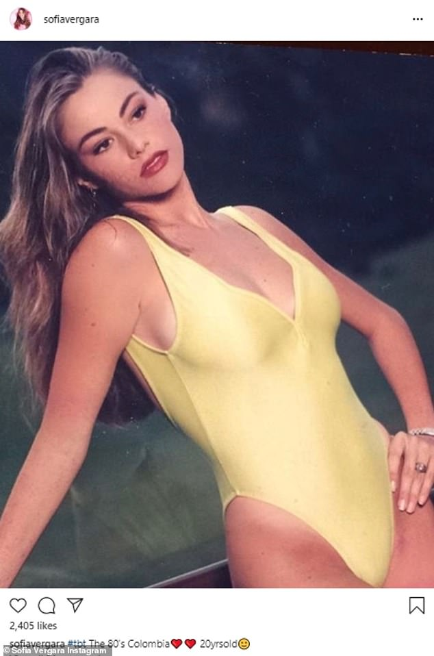 #tbt: In another Throwback Thursday Vergara revealed her 20-year-old self in the 1980's dressed in a yellow one-piece swimsuit