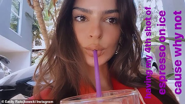 Jolt: There's also a quick close-up clip of Ratajkowski sipping her espresso through a straw
