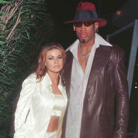 new laker dennis rodman celebrates his first winning game out on the town at goodbar with wife carmen electra