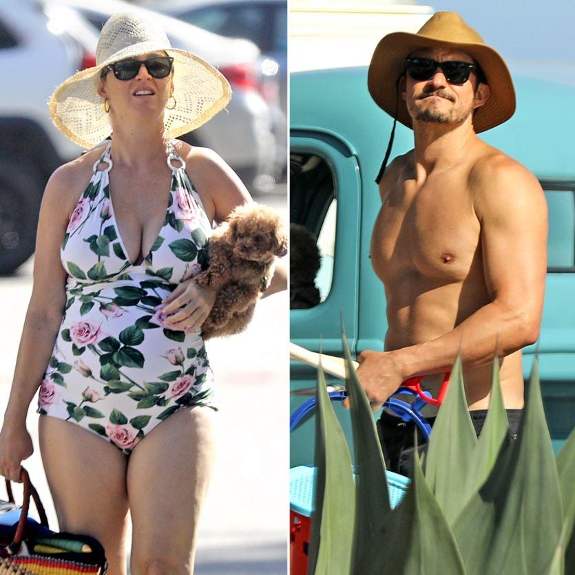 Heavily pregnant Katy Perry shows a bump in a vintage bikini on family coastline day