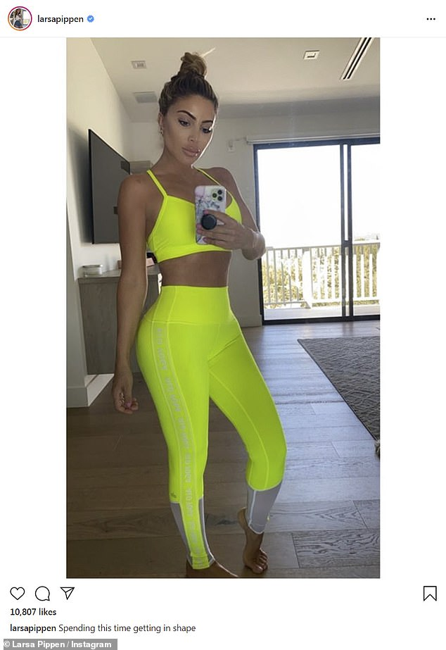 Kim Kardashian's good friend Larsa Pippen highlights her contours in neon yellow exercise clothes