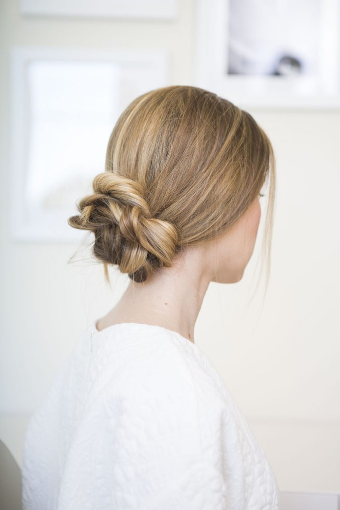 Low loose updo hairstyle