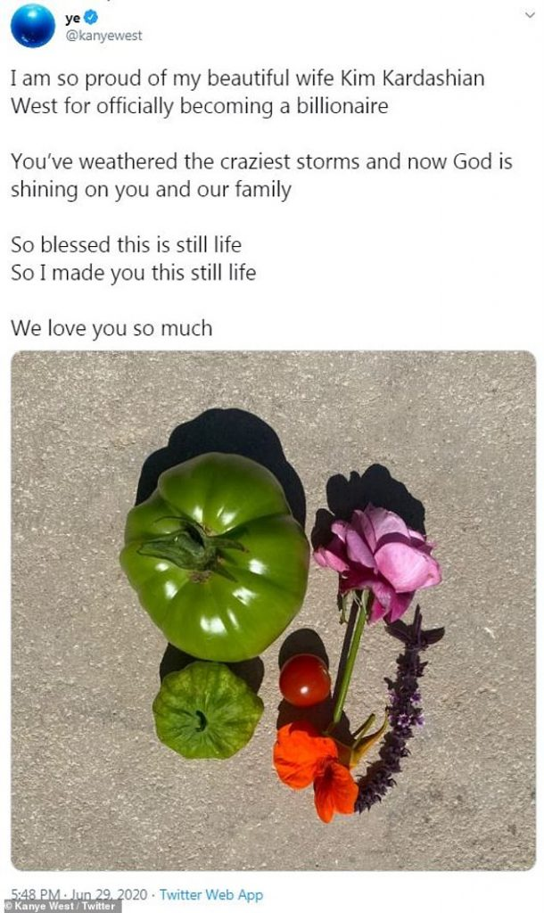 Simple: Kanye wrote that he was 'so proud' of Kim for becoming a billionaire and included a photo of a hastily made found art arrangement of vegetables and flowers