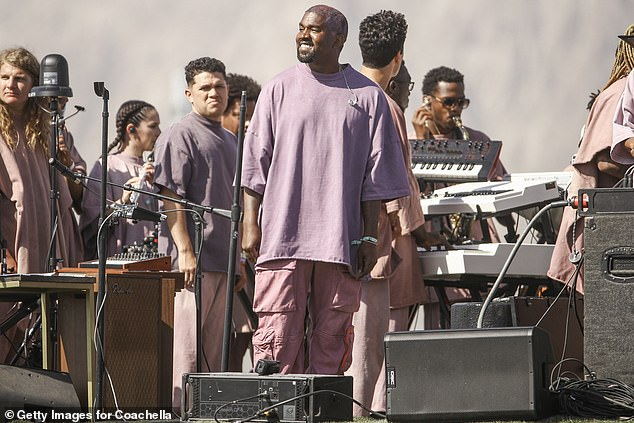 New direction:The song's existence was first revealed in a GQ profile from April, which described it as being closer to the aggressive sonics of Yeezus than the gospel of Jesus Is King; pictured in April 2019 at Coachella