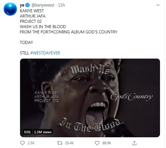 Eerie: The rapper also shared a 10-second tease of his upcoming video from his song Wash Us In The Blood, featuring a repeating silent loop of a man singing furiously