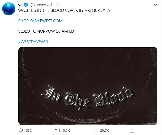 Coming soon: A later tweet featured the single artwork and revealed that the Arthur Jafa¿directed video would arrive at 10 a.m. Eastern Time on Tuesday