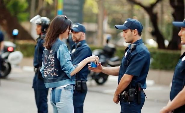 Kendall Jenner's cancelled Pepsi advert where she hand a police officer a can of Pepsi