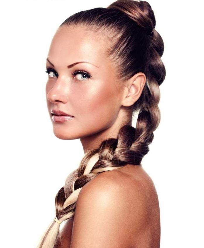 High braided hairstyle
