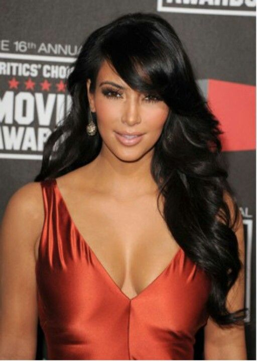 kim kardashian side swept bangs