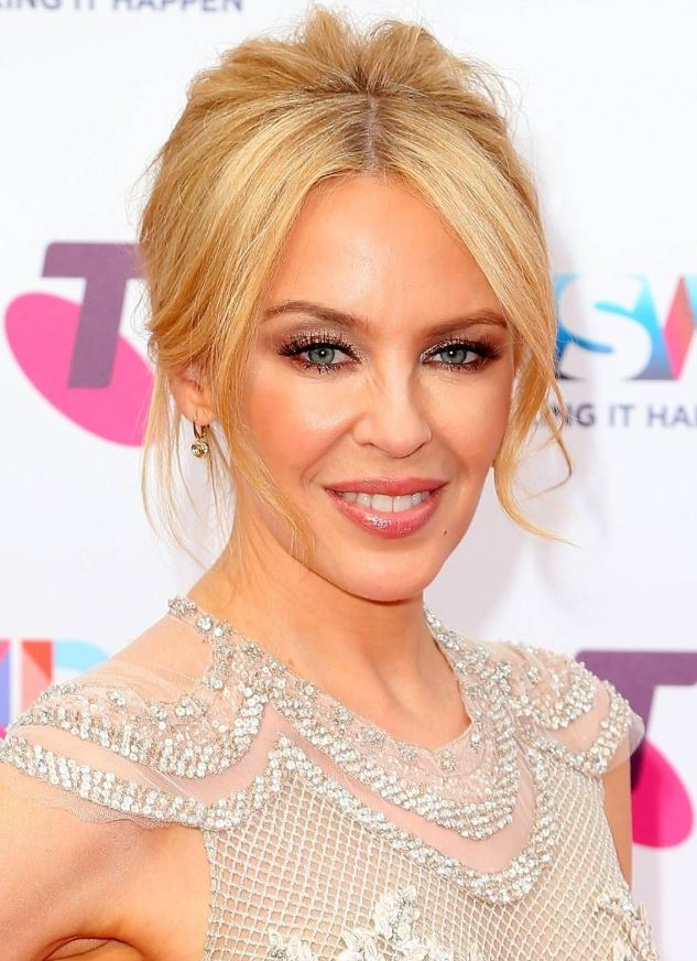 wavy chignon hairstyle Kylie Minogue