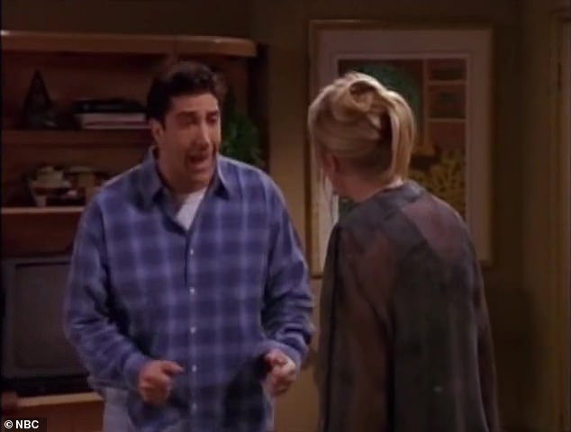 """Passionate divide:'People are so passionately separated on whether [Ross and Rachel] were """"on a break,""""' included Schwimmer, whose personality withstood an on-and-off once more love with personality Rachel Green played by Jennifer Aniston, 51"""