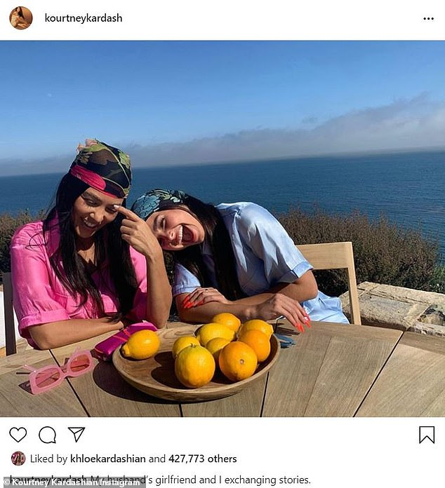 'Exchanging stories': Kardashian sarcastically called Rae 'my husband's girlfriend' in a July 31 post joking that she's young enough to be pursued by her 37-year-old babydaddy Scott Disick