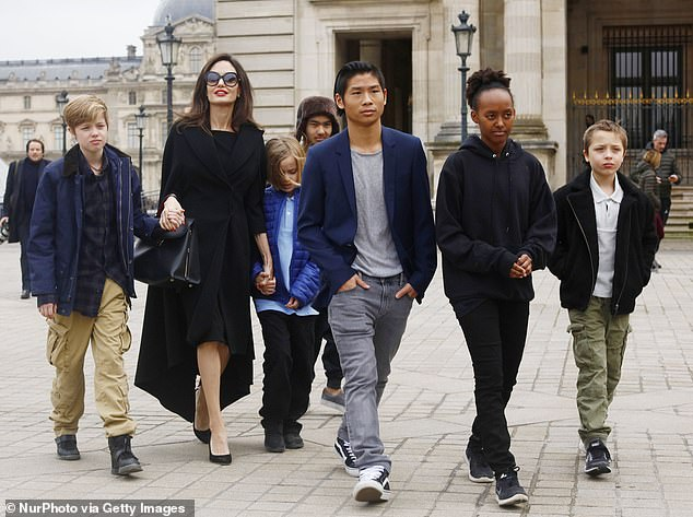 Dispute: 'Brad wants 50/50 joint physical and legal custody of the kids. Angelina has been unagreeable to those terms,' a source told UsWeekly. The insider added that Jolie 'will only agree to talk about an agreement if the home base for the children isn't Los Angeles (Jolie is seen with the children in France in January 2017)
