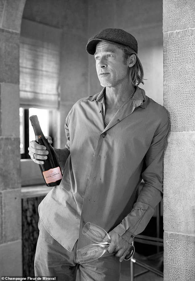 Business trip: Pitt visited the estate and its vineyard that produces a celebratedrosé ahead of the launch next month of its Rosé Champagne, Fleur de Miraval. He and Jolie purchased the property in 2011 for $60 million