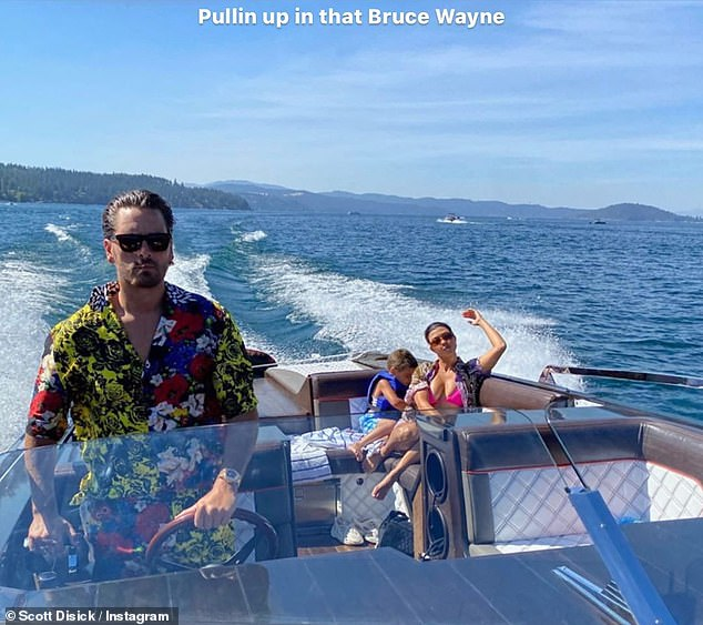 Cruising: Scott Disickenjoyed a fun-filled boat ride with ex Kourtney Kardashian, 41, and their youngest son Reign, five, on Sunday afternoon