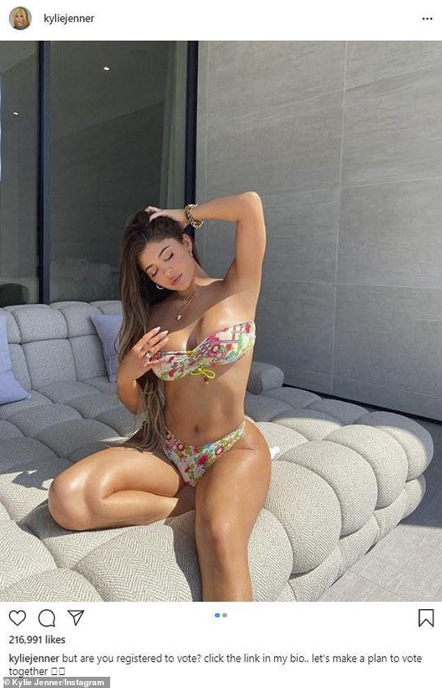Rock the vote: Kylie flaunted her gorgeous curves last week on Instagram in a strapless floral bikini, encouraging her fans to vote, amassing 9.8million likes since