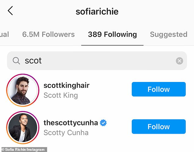 Nothing to see here: A search of the accounts that Sofia follows confirmed that Scott was no longer among them