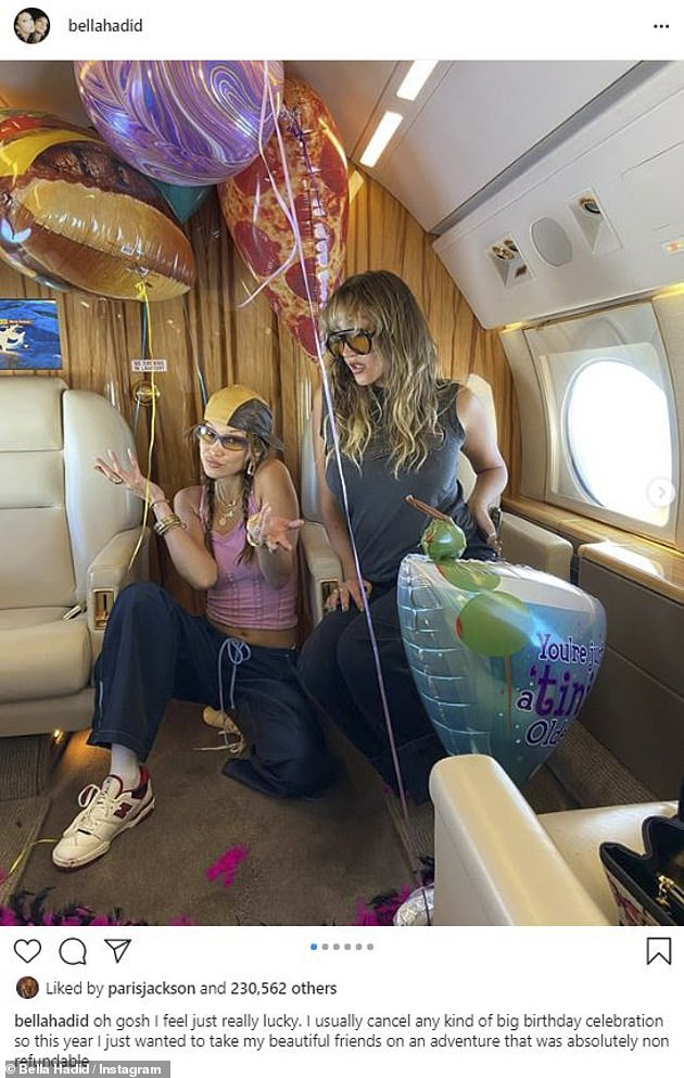 Jetset life: Bella previously took to Instagram from a private jet Thursday, as she embarked on a vacation with friends Devon Lee Carlson, Jesse Jo Stark and Alana O'Herlihy
